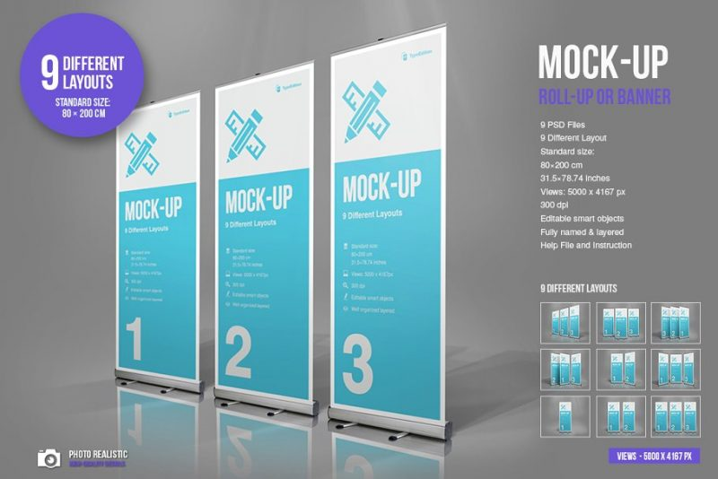 Photo Realistic Roll Up Banner Mockup