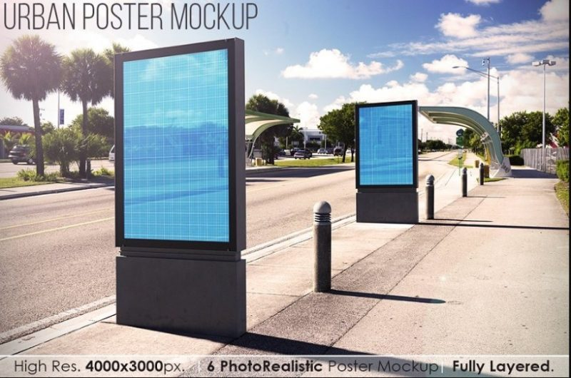 Photo Realistic Urban Poster Mockup