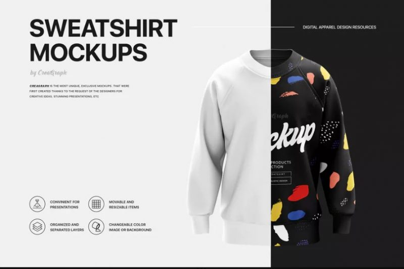Photorealistic Sweatshirt Mockup PSD