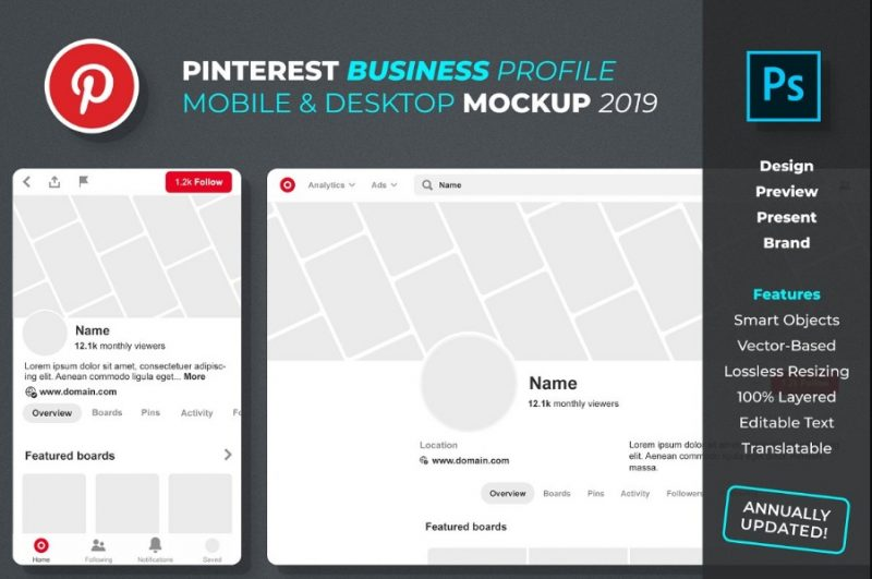 Pinterest Business Profile Mockup PSD