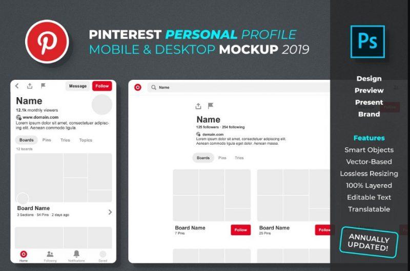 Pinterest Profile Mockup PSD