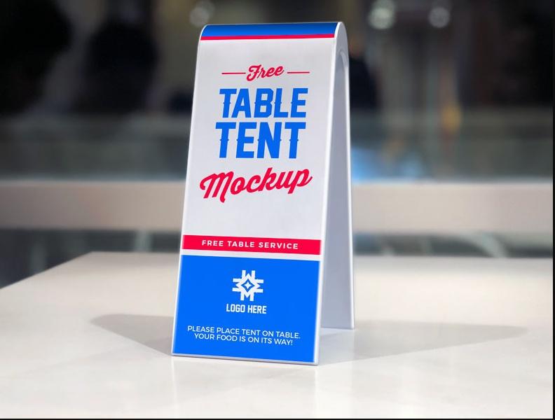 Plastic Table Tent Mockup PSD