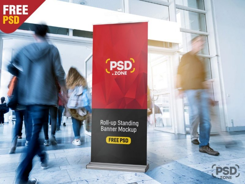 Professional Roll Up Banner Mockup PSD