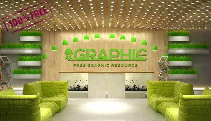 Realistic Wall Logo Mockup