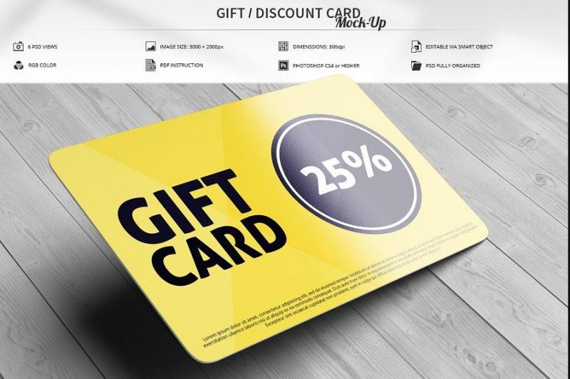 Realistic Gift Card Mockup PSD