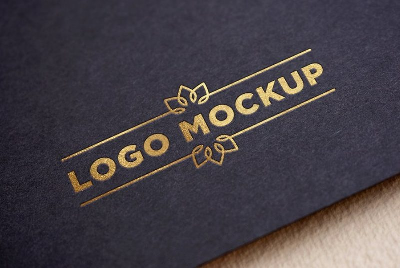 Realistic Gold Logo Mockup PSD
