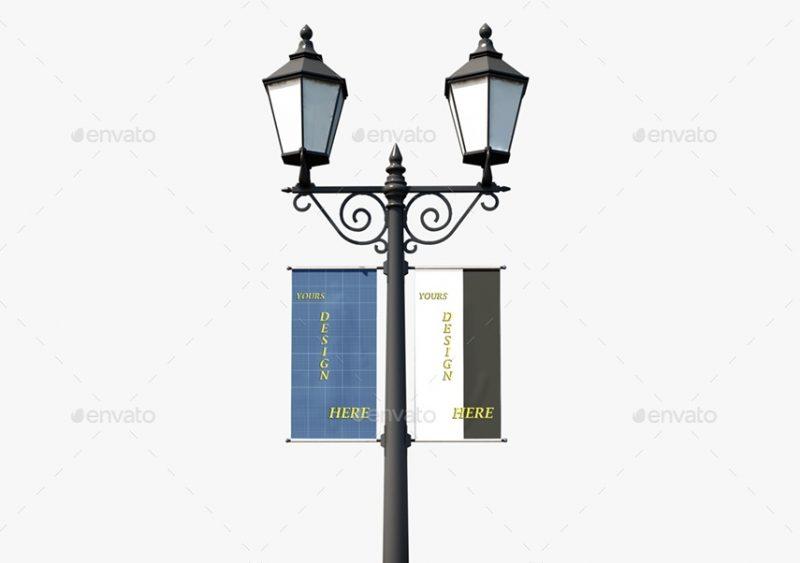 Realistic Lamp Post Banner Mockup