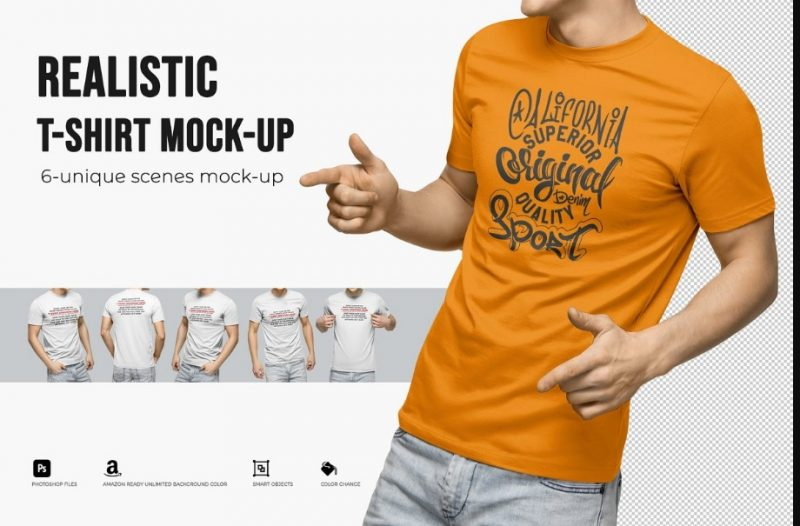 Realistic Men T Shirt Mockup PSD