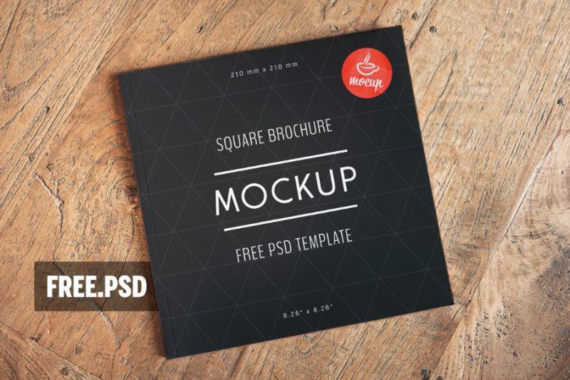 Realistic Square Brochure Mockup PSD