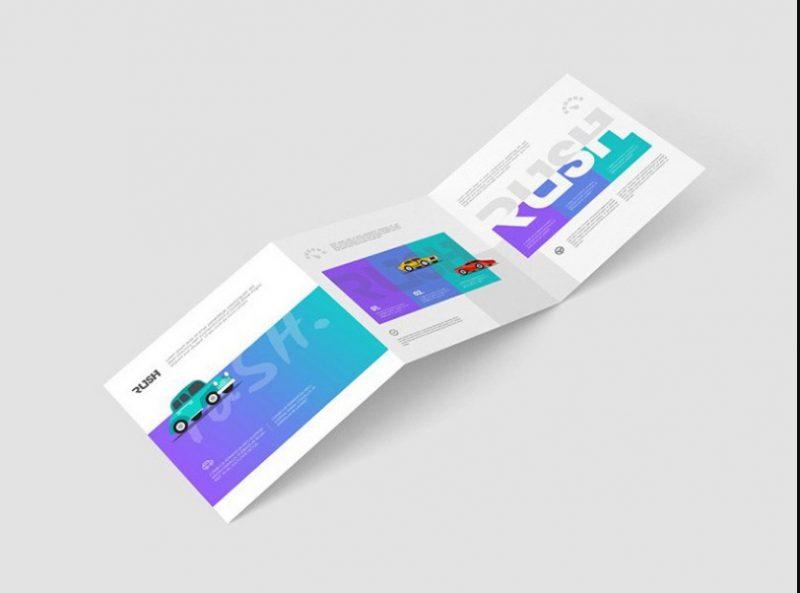 Realistic Tri Fold Square Brochure Mockup