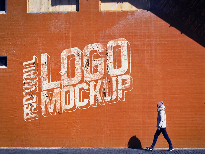 Realistic Wall Logo Mockup PSD