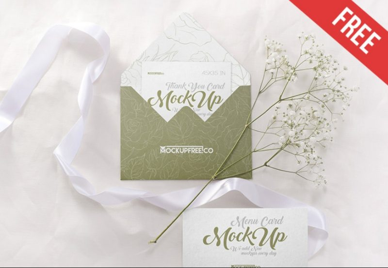 Realistic Wedding Invite Mockup PSD