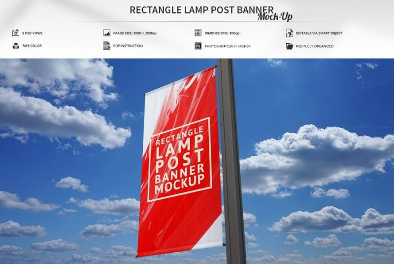 Rectangular Lamp Post Banner Mockup PSD