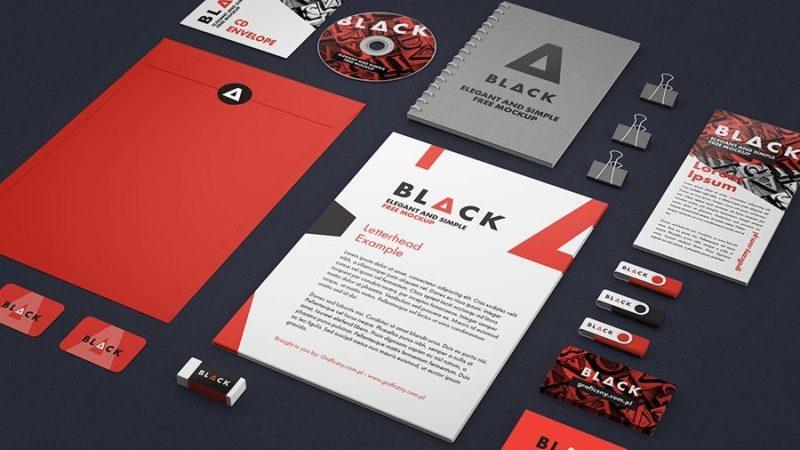 Red Branding Identity Mockup PSD