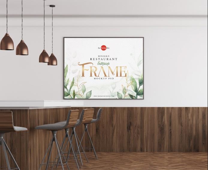Restaurant Interior Mockup PSD Free