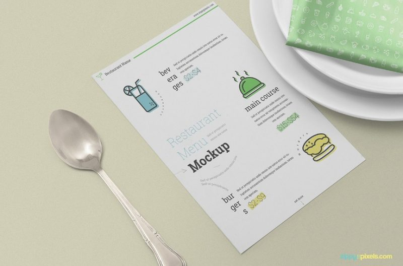 Restaurant Menu Card Mockup Free