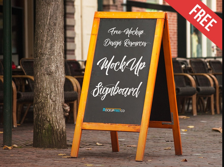 Restaurant Signboard Mockup PSD Free