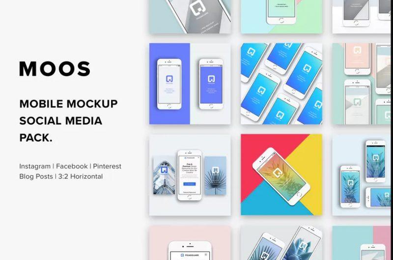 Social Media Mobile Mockup PSD