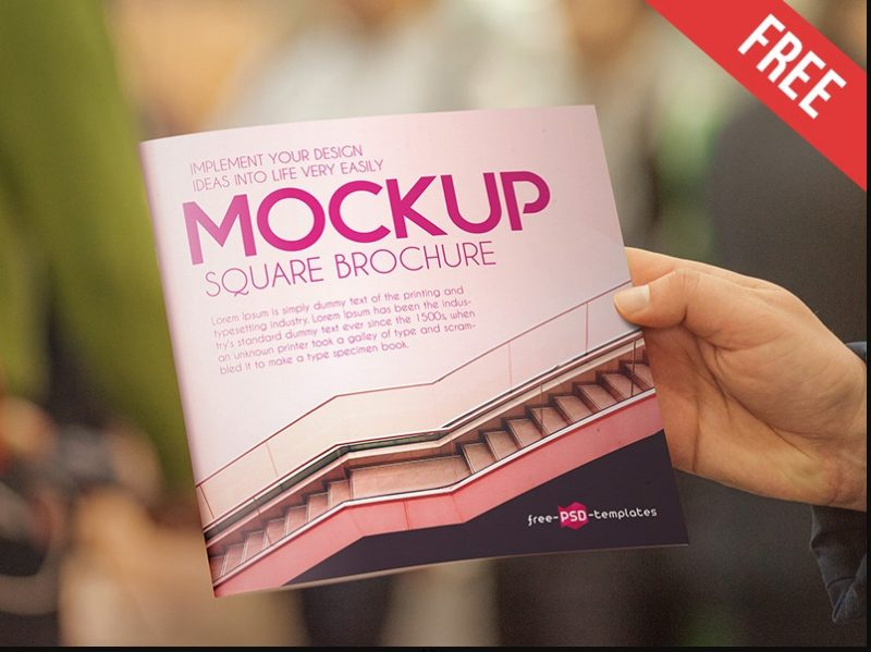 Square Brochure in Hand Mockup