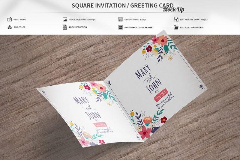 Square Invitation Mockup PSD