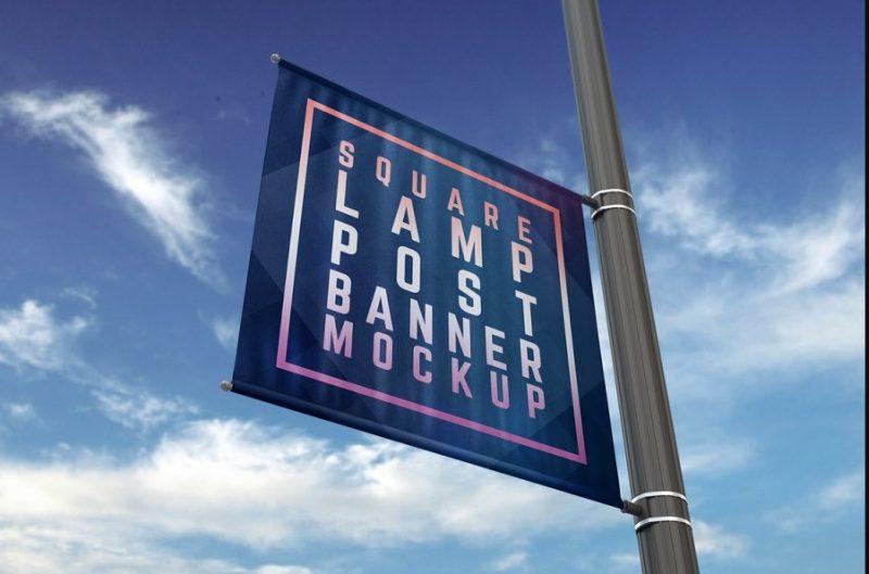 Square Lamp Post Mockup PSD