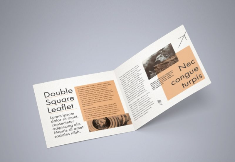 Square Leaflet Mockup PSD Free