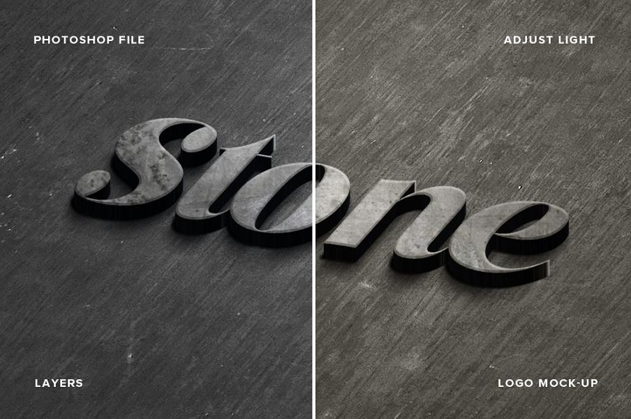 Stone logo Mock Up Realistic