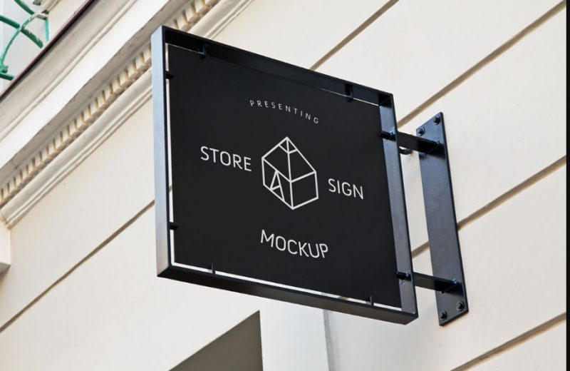 Store Sign Mockup PSD