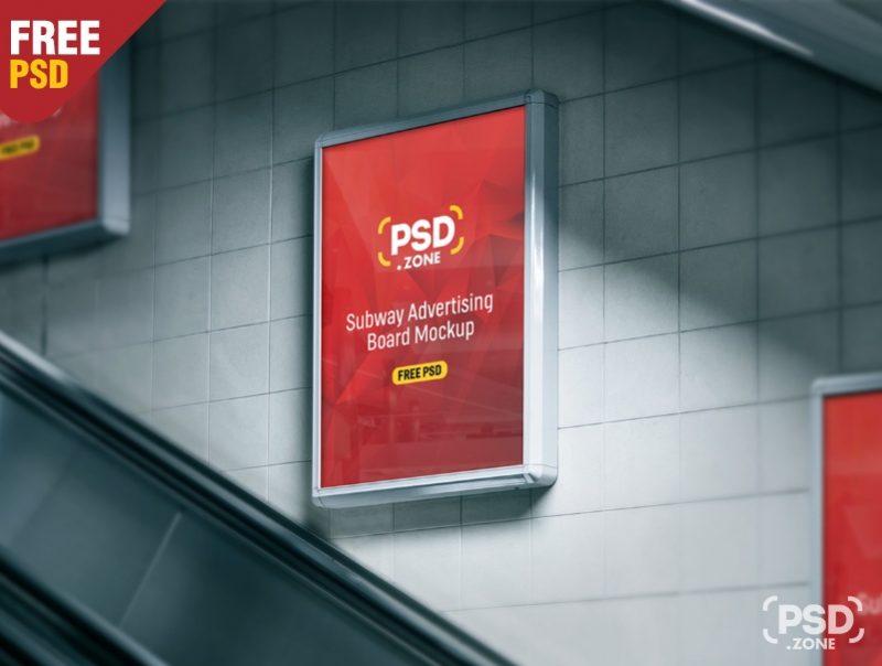 Subway Poster Ad Mockup PSD