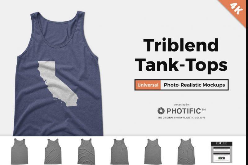 Tri Blend Tank Top Mockup PSD