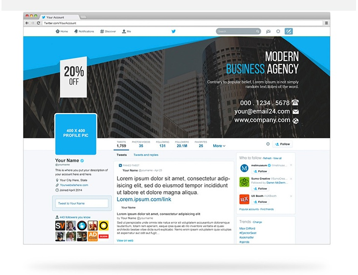 Twitter Cover Mockup PSD