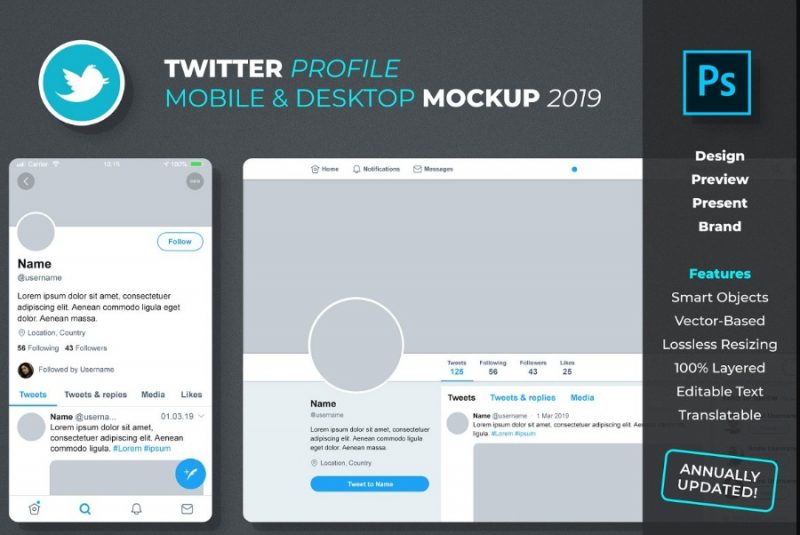 Twitter Profile Mockup PSD