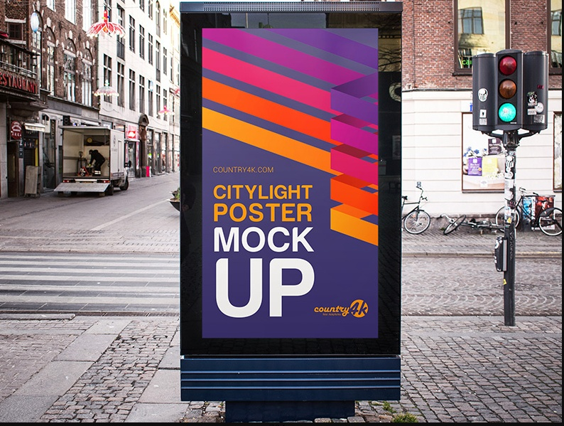 Free Urban Outdoor Poster Mockup PSD