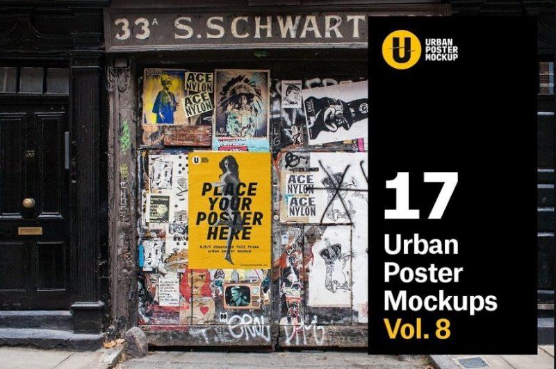 Urban Street Poster Mockup PSD