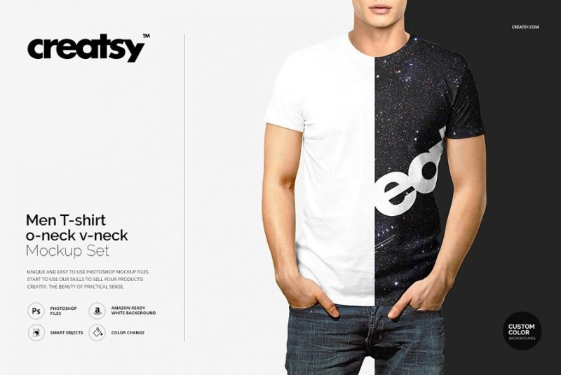 V Neck T  Shirt Mockup PSD
