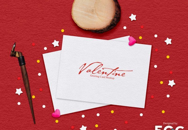 Valentine Card Mockup PSD