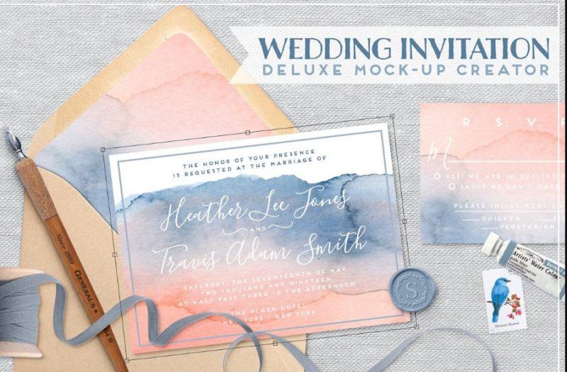 Wedding Invite Mockup PSD