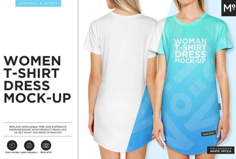 Women T Shirt Dress Mockup PSD