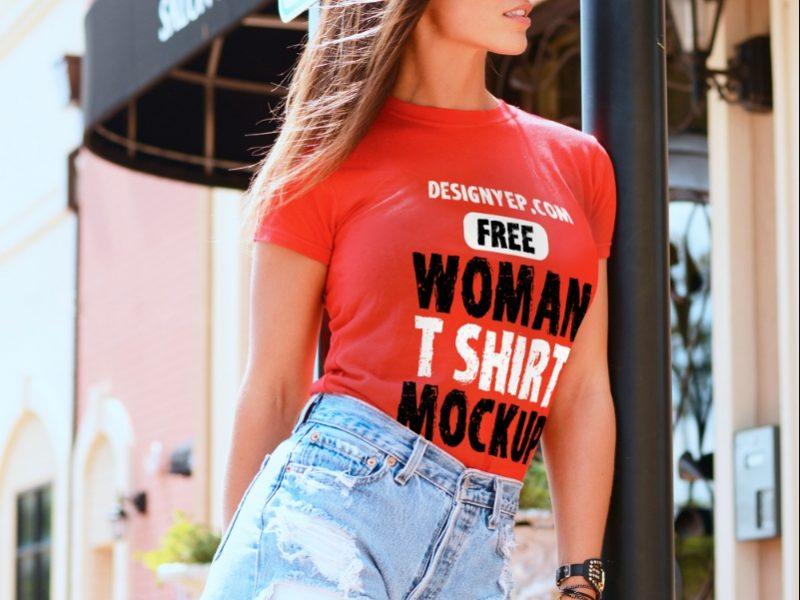 Women T Shirt Mockup Free Download
