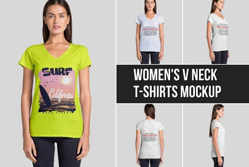 Womens V Neck T Shirt Mockup