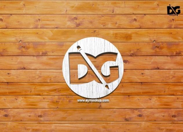 Wood Wall Logo Mockup PSD