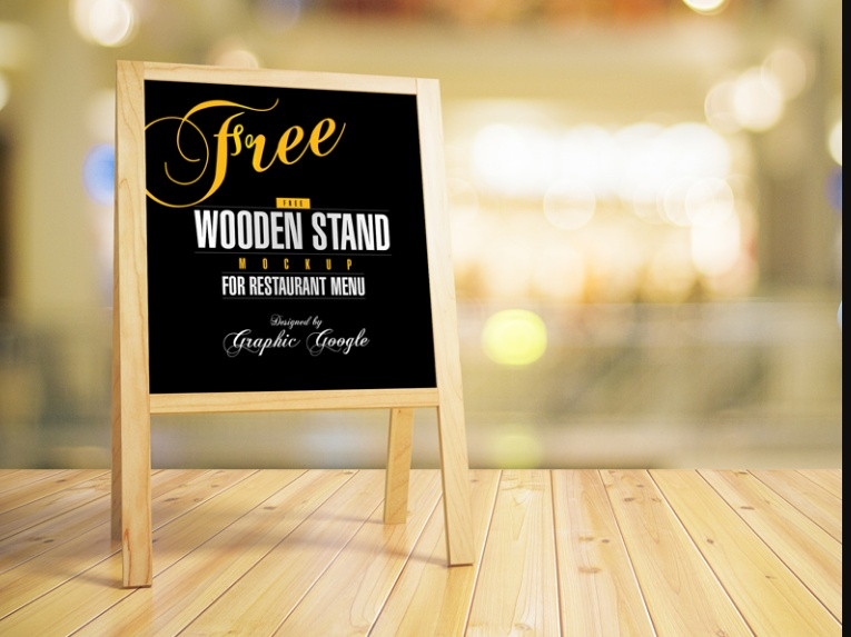 Wooden Stand Restaurant Mockup