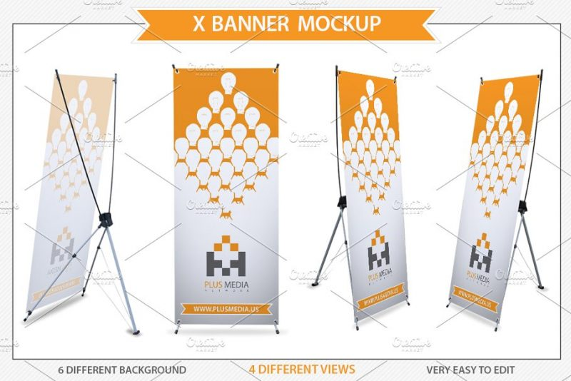 X Stand Banner Mockup PSD