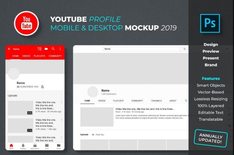 YouTube Profile Mockup PSD