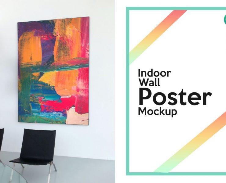 indoor Wall poster Mockup-PSD