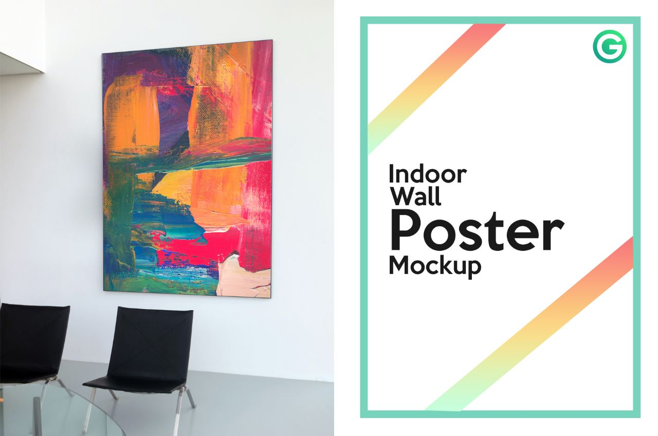 indoor Wall poster Mockup-PSD