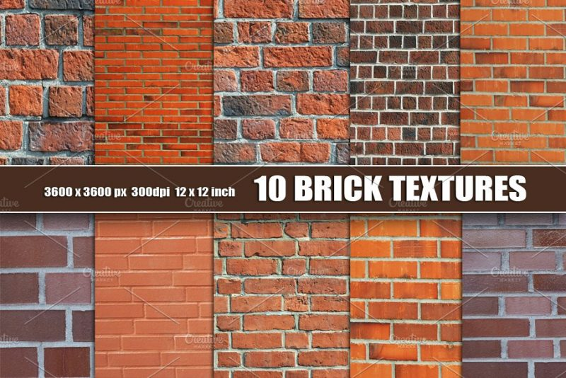 10 Brick Wall Textures Pack