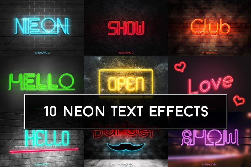 10 Neon Mockups PSD