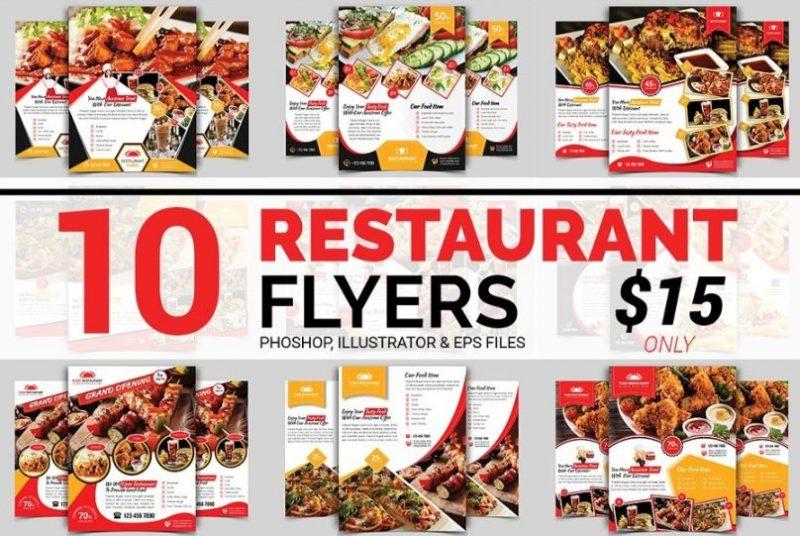 10 Restaurant Flyers Bundle