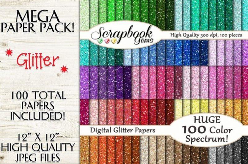 100 Glitter Paper Textures